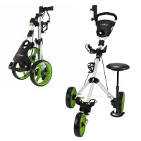 Caddymatic Golf X-TREME 3 Wheel Push/Pull Golf Tolley with Seat White/Green