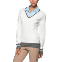 Oakley Ladies Top Hill Sweater - White with Grey Trim
